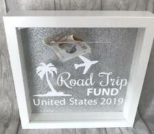 PERSONALISED ROAD TRIP Fund MONEY BOX Frame, Present Gift Love HOLIDAY TRAVEL