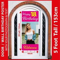 5FT Tall / Door : Personalised ANY AGE Birthday Poster Banner +Your Photo & Text