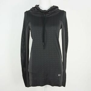 Womens Under Armour Pullover Heatgear Cowl Neck Thumbholes size S Grey Mesh