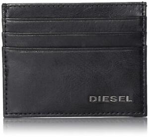 Diesel Mens Real Leather Credit Card Holder Etui Wallet JOHNAS II Vintage Black