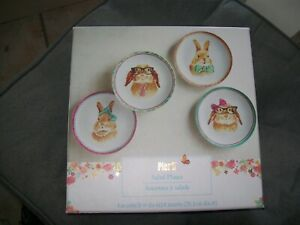 """Pier 1 One Imports Set of 4 Bunny Faces 8"""" Porcelain Salad Plates Dishes New Box"""