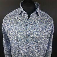 JOOP Mens Shirt 42 16.5 (LARGE) Long Sleeve Blue SLIM FIT Floral Cotton