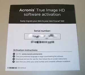 Acronis True Image HD Image Backup Software For Crucial Short Serial Number