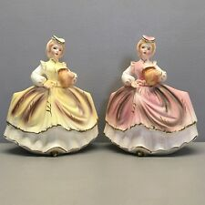 Lego Pair Vintage Porcelain Lady Figurine Vases or Planters Pink Yellow 7296