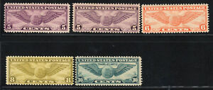 US Airmail Airpost Set of 5 Winged Globe C12 C16 C17 C19 C24 MH/MNH F/VF XF