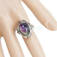 Boho Oval Emotion Feeling Color Change Mood Ring Band Rhinestone Alloy US 7