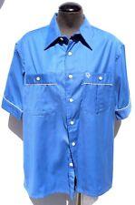 Vtg Mens 1970s Blue & White Christian Dior Designer Short Sleeve Collar Shirt