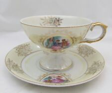 Vintage Wales Japan Tea Cup & Saucer Lustre Victorian Couple New Old Stock Japan