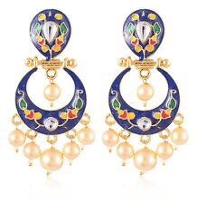 Indian Traditional Women Gold Plated Pearl Drop Dangle Earrings Fashion Jewelry