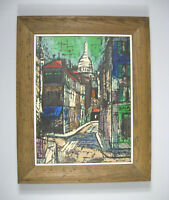 Acrylic Painting Framed Unsigned Cityscape 19.5 Inch Rue Paris Montmartre MOD