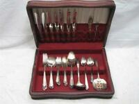 Rogers Mailbu Silver Plate Flatware Set 56 Pcs Svc for 8 w/Box Silverware