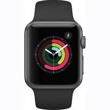 NEW APPLE WATCH 2 SERIES 1 38MM SPACE GRAY ALUMINUM CASE BLACK SPORT BAND