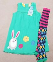 Frugi Cord Bunny Dress & Flower Tights 2-3 BNWT