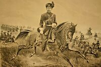 Antique MAGNUS General FRANZ SIGEL US Military Civil War Battle Print Lithograph