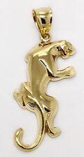 "14K Solid Yellow Gold Puma, Panther, Cheetah Charm Pendant Men, Women 1.34"""