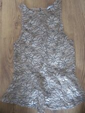 New Look Gold Black Floral Lace Peplum Top Size 8 VGC
