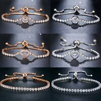 New Round Tennis Bracelet Womens Cubic Zircon Charm Bangles Wedding Jewellery