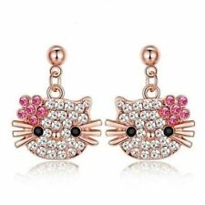 Boucles d'oreille Chat Hello Kitty Cristal Plaqué Or Rose 750