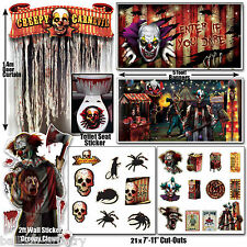 Halloween CREEPY CARNIVAL Scary Killer Clown DELUXE VALUE Decoration Pack Set