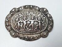 Antike gr. Rosen Brosche 4 Putti 800 Silber um 1910 Meisterpunze 5,5 cmX4 cm B71