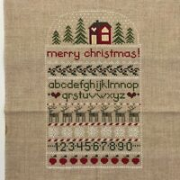 Completed Finished Cross Stitch Sampler Christmas Reindeer House Trees ABC 123