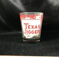 Vintage TEXAS JIGGER Large Shot Glass Comical Drink Lines Longhorn Steer