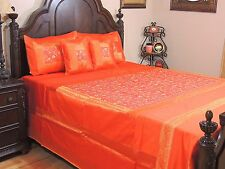 Orange Floral Gulistaan Embroidered Bedding - Decorative Indian Queen Ensemble