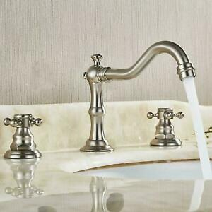Brushed Nickel Two Handles Three Holes Faucet 8-16 inch Widespread Bathroom Sink