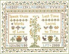 Traditional Sampler - complete cross stitch kit on 14 aida with COLOUR chart