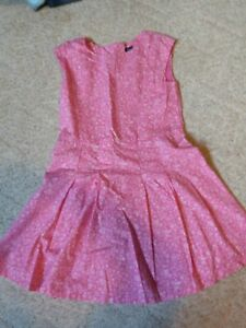 GapKids girls sleeveless pink pleated dress with white flowers size 10 EUC