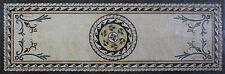 Rectangular Floor Rug Wavy Border Rope Frame Centered Flower Marble Mosaic CR796