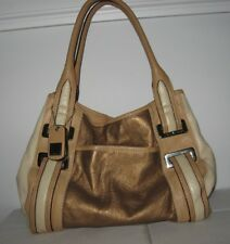 TIGNANELLO leather purse shoulder bag beige tan bronze silver tone satchel feet
