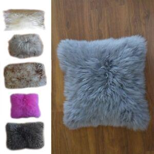 Merino double face  sheepskin pillows cushions genuine white, black, grey, pink