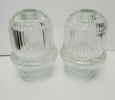 Vtg Homco Fairy Lamps Candle Holders Horizontally Lined Clear Glass Collector