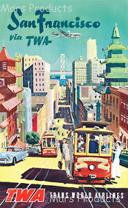 1950s San Francisco TWA Cable Car Vintage Style Travel Poster 20x30