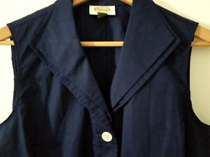Talbots Top Shirt 16 Navy Blue Solid Sleeveless Button Front V-Neck Collar