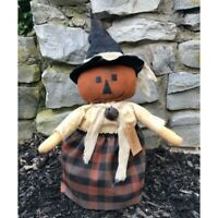 New Primitive Halloween TRICKSY JACK O LANTERN PUMPKIN DOLL Rusty Bell Witch Hat