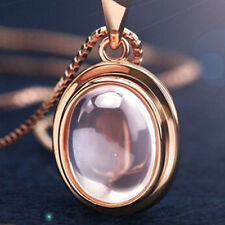 Elegante Donna Rosa placcato oro Cristallo Rosa Collana Con Ciondolo adatto per