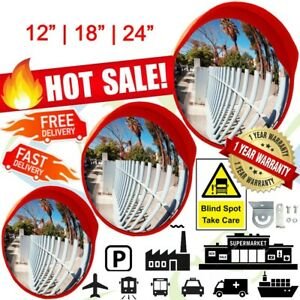 30 45 60cm Wide 180° Convex Security Traffic Road Safety Mirror With Visor UK