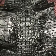 Crocodile Skin Leather Hide Exotic Skin Craft Supply Hornback Black 32cm