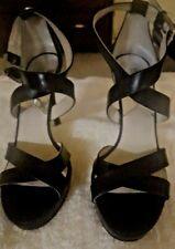 Michael Kors Women's Black Leather Sandals Ankle Strap High Heels Pumps Size 9