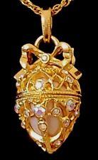 JOAN RIVERS Aurora Borealis Necklace Rhinestone Egg Pendant Fortune Scroll
