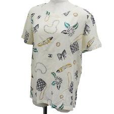 Chanel Boutique Maglia T-Shirt Bianco Sporco 100% Seta Vintage Francia Auth