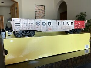g scale model trains: Aristo Craft 1:29 SOO Line Drop End Gondola Used