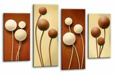"""FLORAL ABSTRACT ART PICTURE BROWN CREAM CIRCLES CANVAS  SPLIT PANELS 40"""""""
