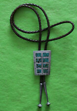 """VINTAGE ROCKABILLY SOUTHWESTERN SILVER INLAY TURQUOISE 35"""" BOLO TIE"""