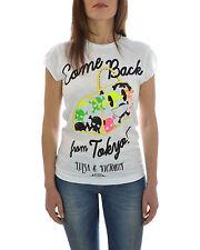 T-shirt donna HAPPINESS tinta unita con stampa multicolore SALDO