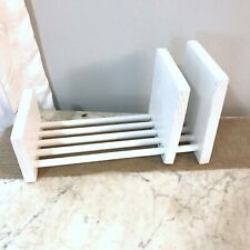 Book Rack Storage With Sliding Bookend Wood Construction Dowel Rest White
