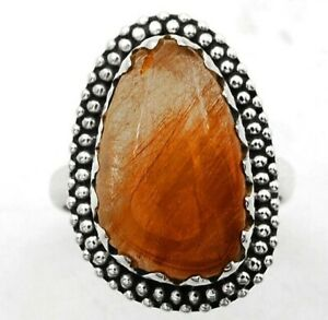 Natural Rutilated Quartz 925 Sterling Silver Ring Jewelry Sz 6.5, ED18-3