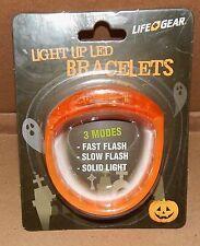 Halloween Life Gear Light Up LED Bracelet Orange 3 Modes Be Seen At Night 115Q